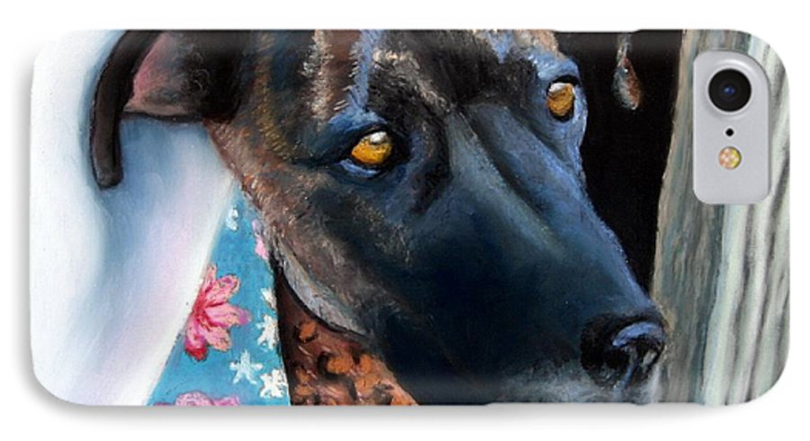 Great Dane IPhone 7 Case featuring the painting Whats Going On? by Minaz Jantz
