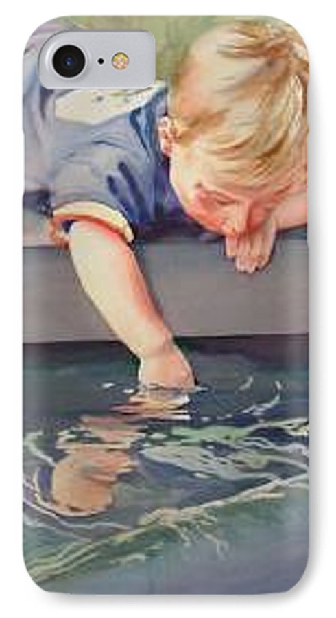Boy Playing In Water IPhone 7 Case featuring the painting Curious by Marlene Gremillion