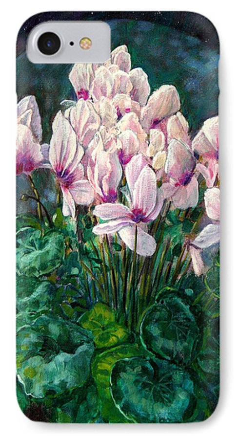 Cyclamen Flowers IPhone 7 Case featuring the painting Cyclamen In Orbit by John Lautermilch