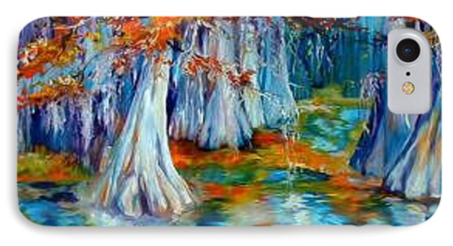 Tree IPhone 7 Case featuring the painting Cypress Trees Along The Bayou by Marcia Baldwin