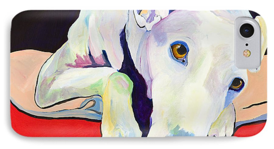 Animals Pets Greyhound IPhone 7 Case featuring the painting Cyrus by Pat Saunders-White