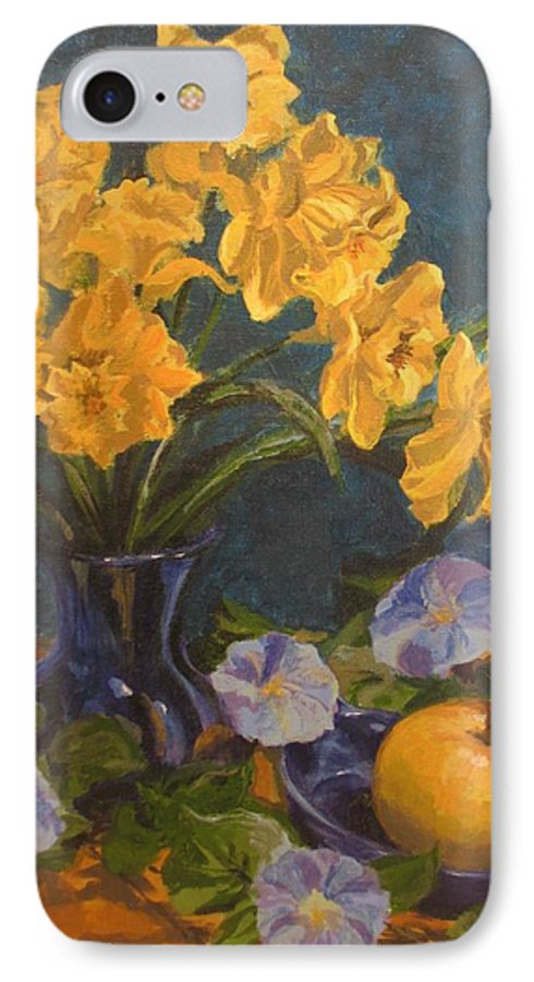 Still Life IPhone 7 Case featuring the painting Daffodils by Karen Ilari