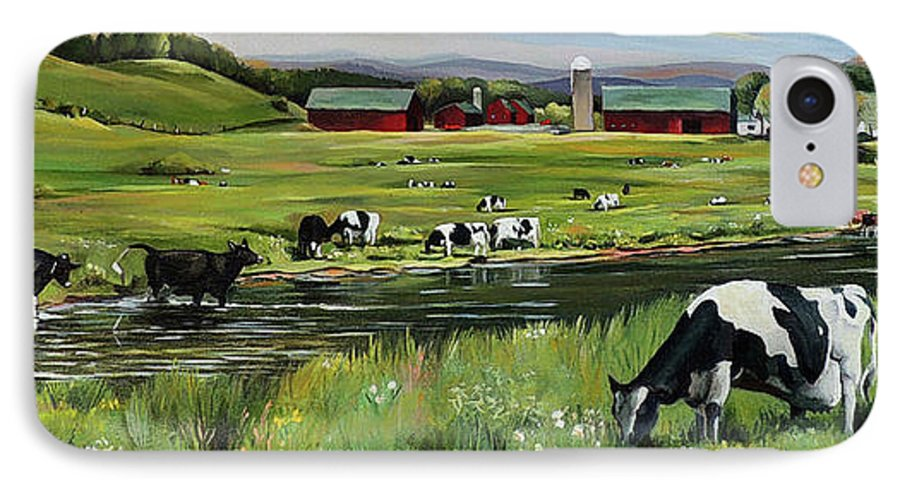 Landscape IPhone 7 Case featuring the painting Dairy Farm Dream by Nancy Griswold