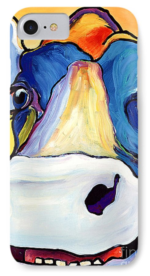 Cow Print IPhone 7 Case featuring the painting Dairy Queen I  by Pat Saunders-White