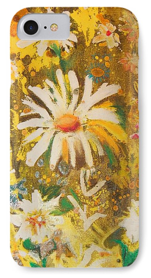 Floral Abstract IPhone 7 Case featuring the painting Daisies In The Wind Vii by Henny Dagenais