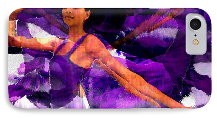 Mystical IPhone 7 Case featuring the digital art Dance Of The Purple Veil by Seth Weaver