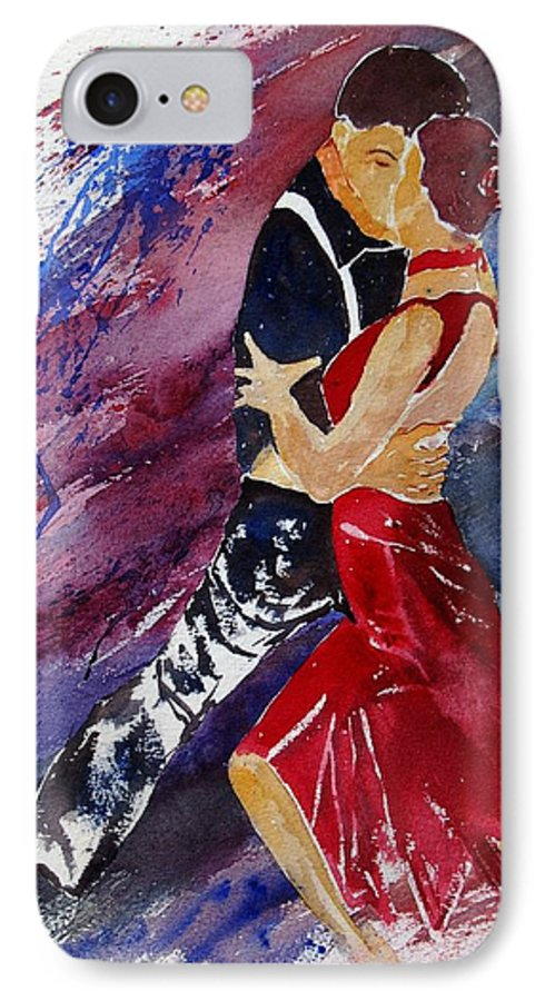 Tango IPhone 7 Case featuring the painting Dancing Tango by Pol Ledent
