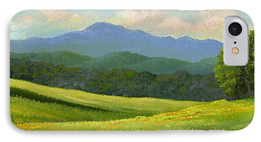 Landscape IPhone 7 Case featuring the painting Dandelion Meadows by Frank Wilson