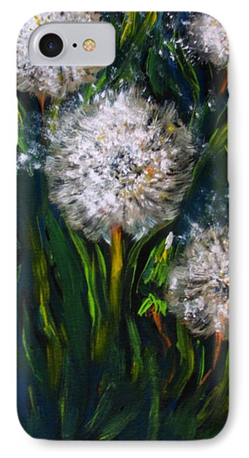 Flower Art IPhone 7 Case featuring the painting Dandelions Acrylic Painting by Natalja Picugina