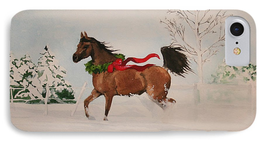 Horse IPhone 7 Case featuring the painting Dashing Thru The Snow by Jean Blackmer