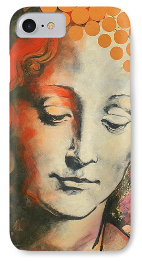 Figurative IPhone 7 Case featuring the painting Davinci's Head by Jean Pierre Rousselet