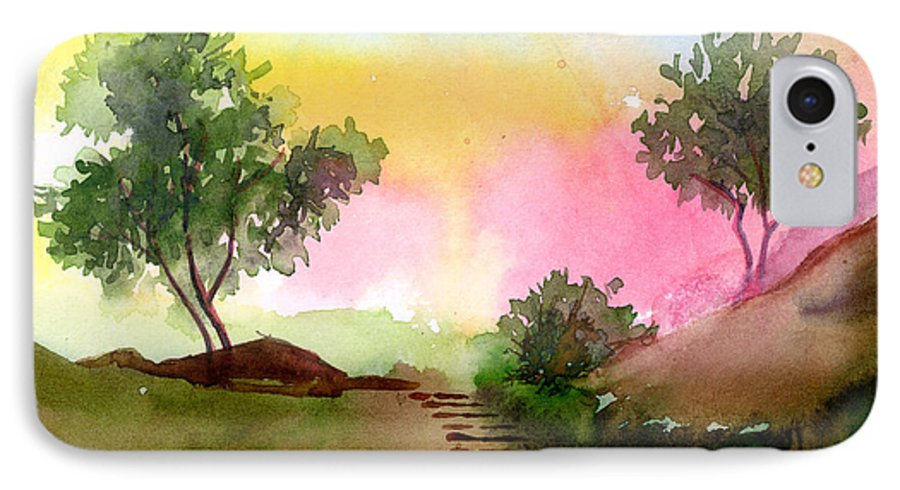 Landscape IPhone 7 Case featuring the painting Dawn by Anil Nene