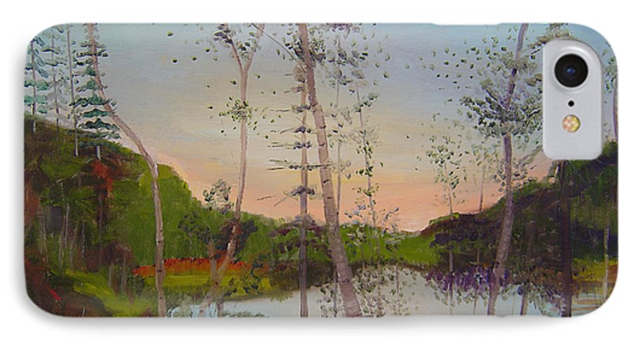 Landscape IPhone 7 Case featuring the painting Dawn By The Pond by Lilibeth Andre
