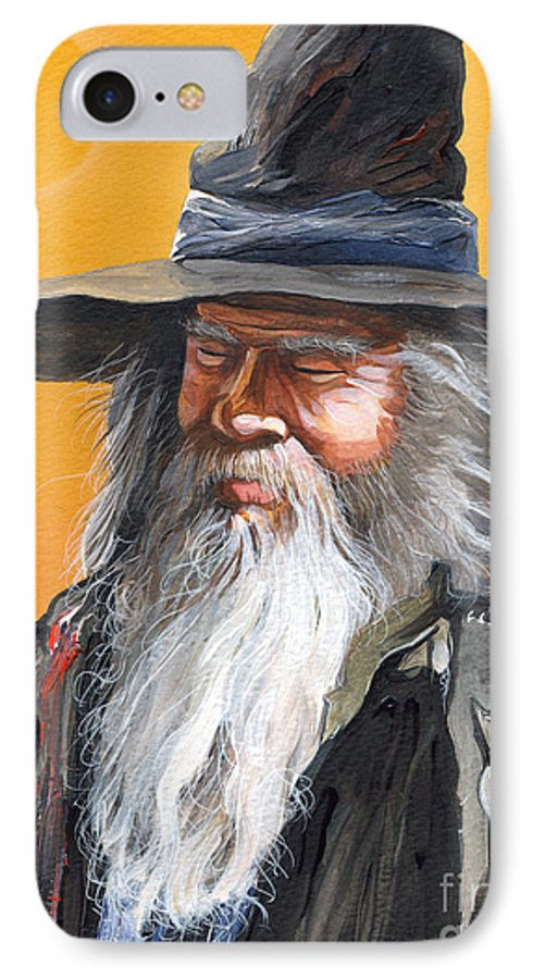 Fantasy Art IPhone 7 Case featuring the painting Daydream Wizard by J W Baker