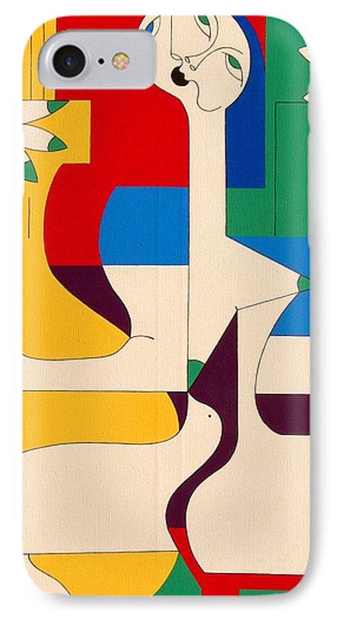 Women Birds Music Guitar Flower Humor Voice IPhone 7 Case featuring the painting De Sopraan by Hildegarde Handsaeme