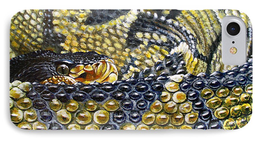 Snake IPhone 7 Case featuring the painting Deadly Details by Cara Bevan