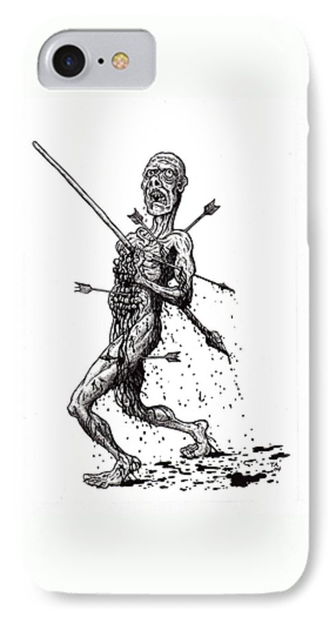 Dark IPhone 7 Case featuring the drawing Death March by Tobey Anderson