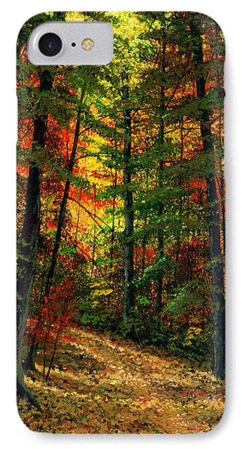 Landscape IPhone 7 Case featuring the painting Deep In The Forest by Frank Wilson