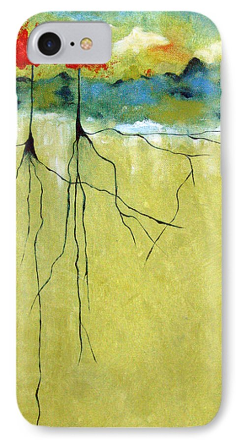 Abstract IPhone 7 Case featuring the painting Deep Roots by Ruth Palmer