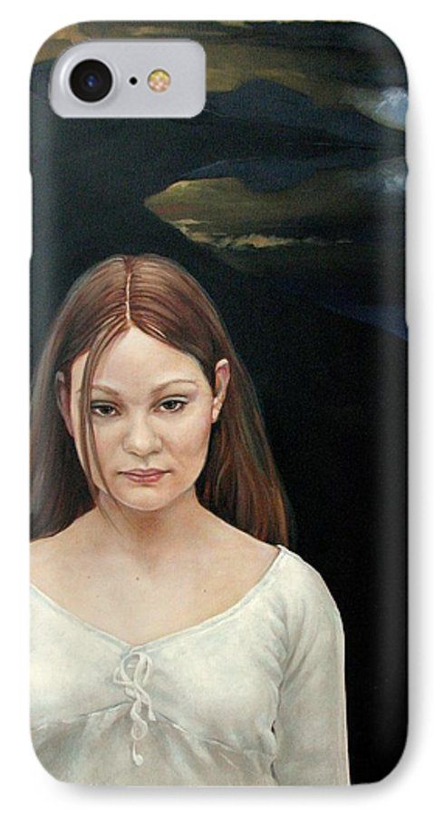 Facial Expressioin IPhone 7 Case featuring the painting Defiant Girl 2004 by Jerrold Carton