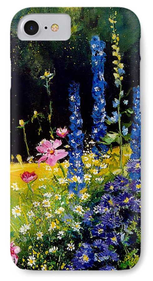 Poppies IPhone 7 Case featuring the painting Delphiniums by Pol Ledent