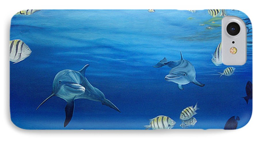 Seascape IPhone 7 Case featuring the painting Delphinus by Angel Ortiz