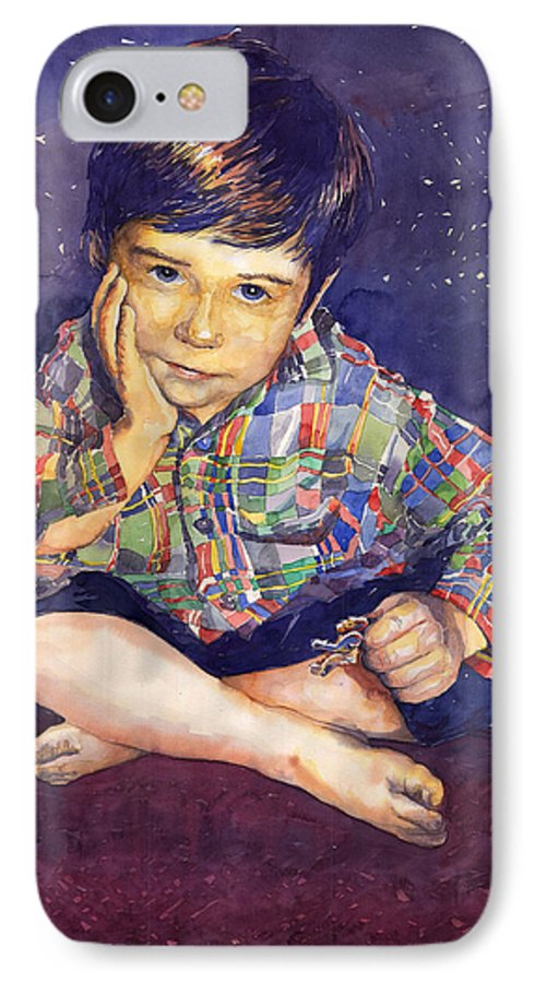 Watercolor Watercolour Portret Figurativ Realism People Commissioned IPhone 7 Case featuring the painting Denis 01 by Yuriy Shevchuk