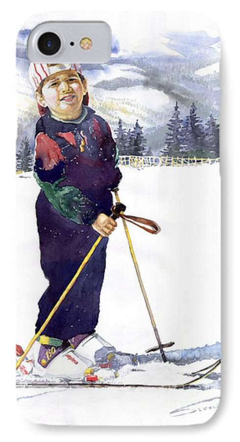 Watercolor Watercolour Figurative Ski Children Portret Realism IPhone 7 Case featuring the painting Denis 03 by Yuriy Shevchuk