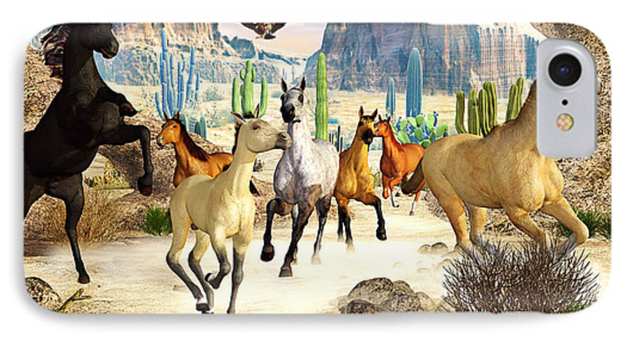 Horses IPhone 7 Case featuring the photograph Desert Horses by Peter J Sucy