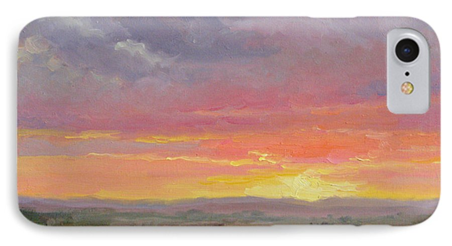 Sunset IPhone 7 Case featuring the painting Desert Sundown by Bunny Oliver