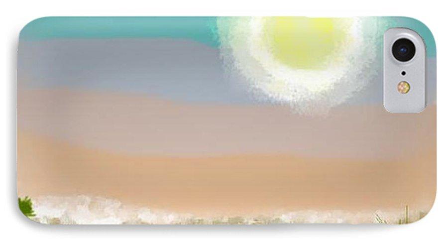 Sky.moon.desert.rest.silence.sand.prickles.moonlight. IPhone 7 Case featuring the digital art Desert.night.moon by Dr Loifer Vladimir