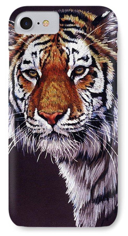 Tiger IPhone 7 Case featuring the drawing Desperado by Barbara Keith