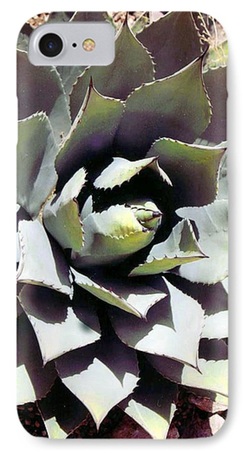 Flower IPhone 7 Case featuring the photograph Dessert Agave by Margaret Fortunato