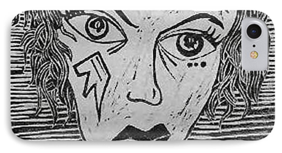 Prints IPhone 7 Case featuring the print Devil Print Two Out Of Five by Thomas Valentine