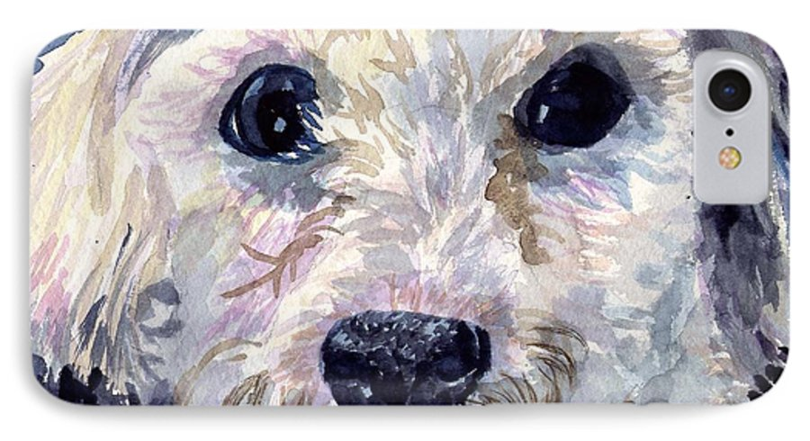 Bichon Frise IPhone 7 Case featuring the painting Did You Say Lunch by Sharon E Allen