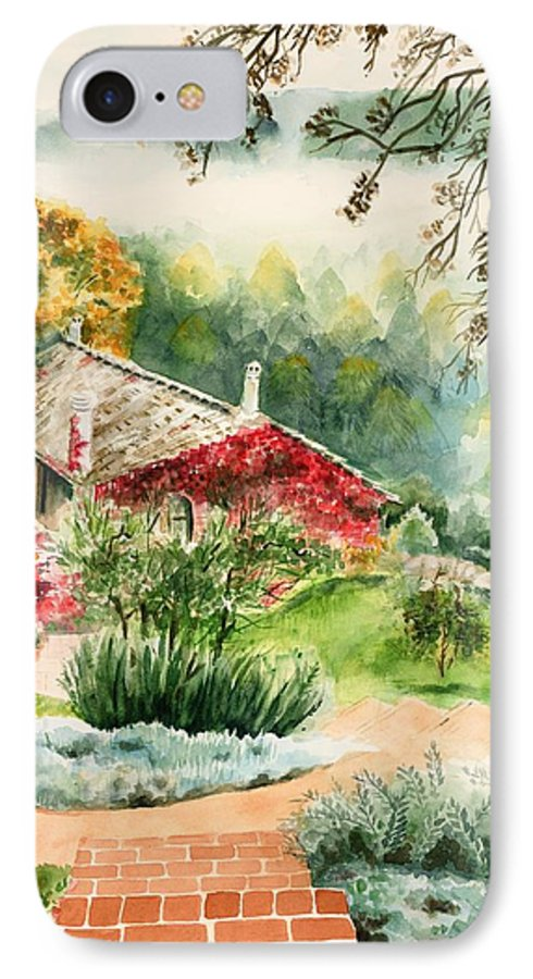 View Of Pathway To Red Cottage And Mountains In Mist IPhone 7 Case featuring the painting Dievole Vineyard In Tuscany by Judy Swerlick