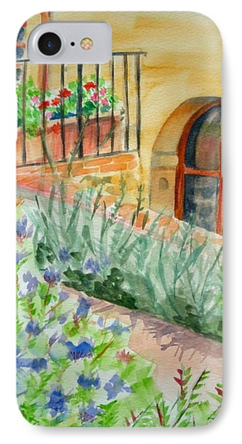 Flowers Surrounding Apartment On Vineyard IPhone 7 Case featuring the painting Dievole Vineyard by Judy Swerlick