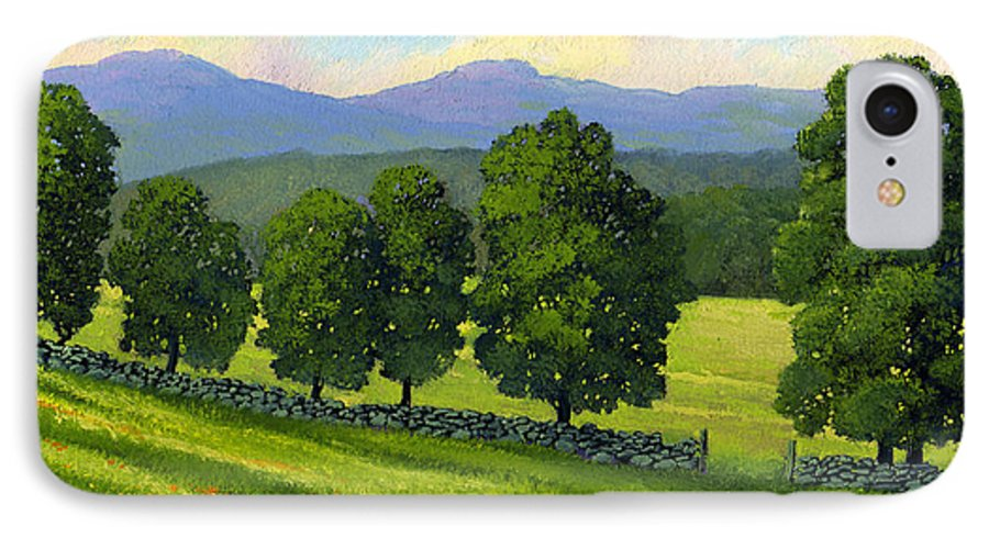 Landscape IPhone 7 Case featuring the painting Distant Mountains by Frank Wilson