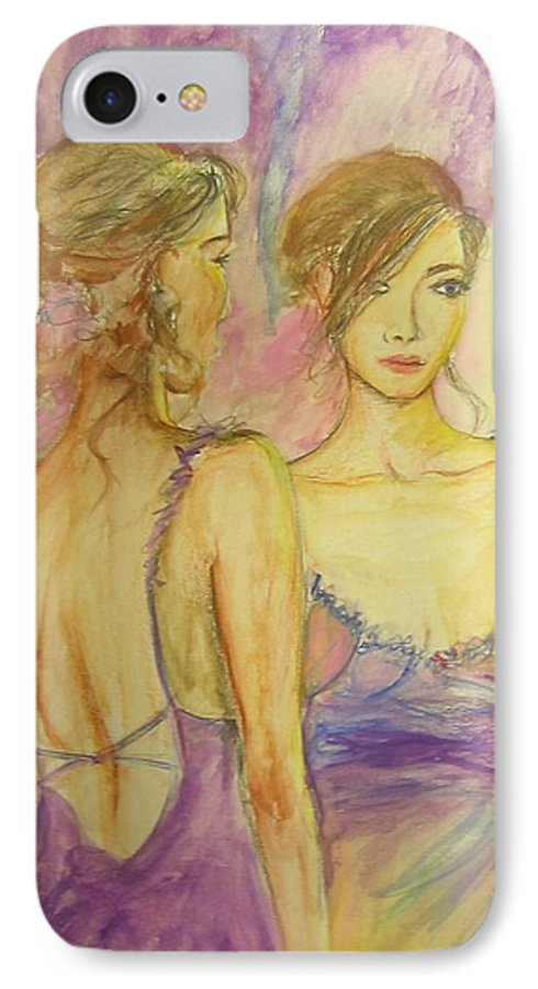 Feminine IPhone 7 Case featuring the painting Distracted by Lizzy Forrester