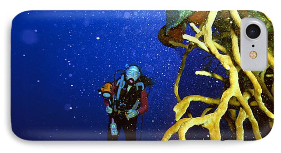 Dive IPhone 7 Case featuring the photograph Diving The Wall At Little Cayman by Carl Purcell