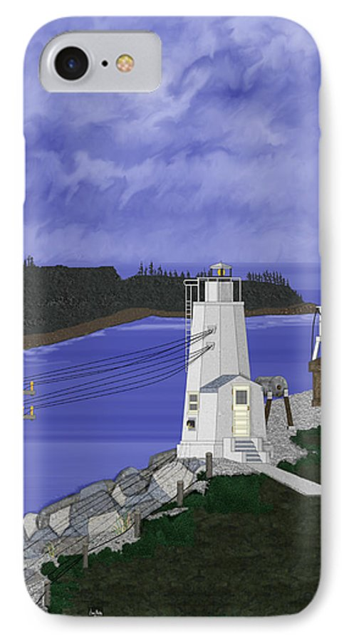 Lighthouse IPhone 7 Case featuring the painting Dofflemeyer Point Lighthouse At Boston Harbor by Anne Norskog