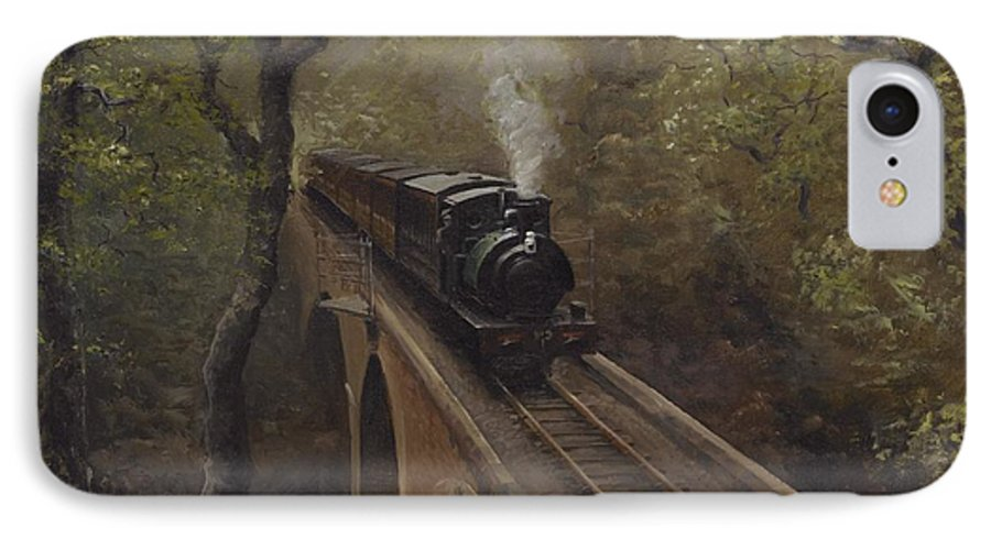 Steam IPhone 7 Case featuring the painting Dolgoch Viaduct by Richard Picton