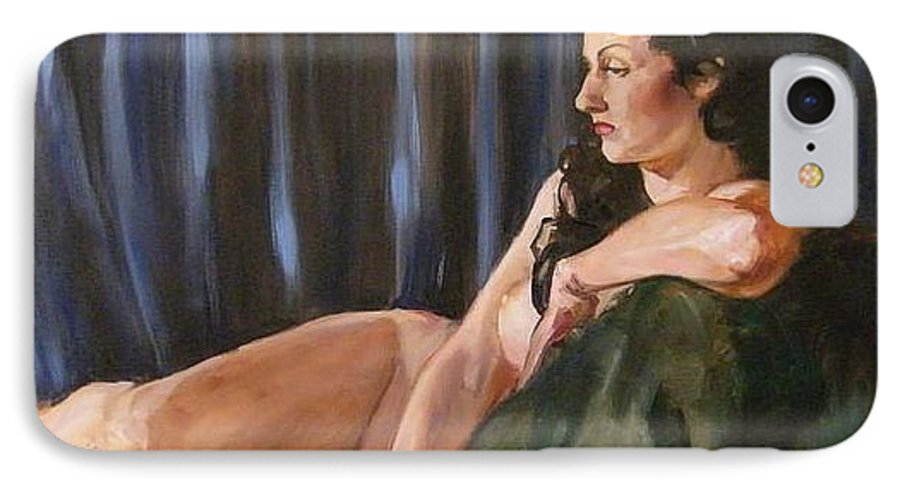 Nude IPhone 7 Case featuring the painting Dolly by Debra Jones
