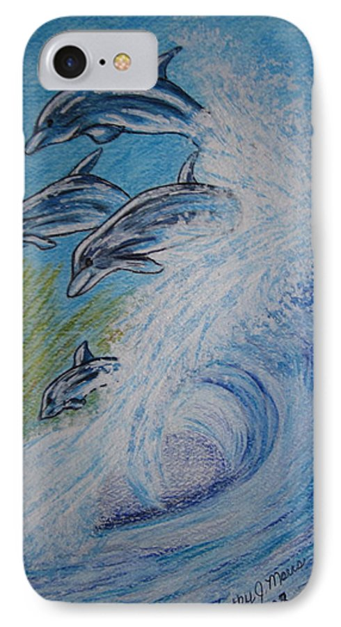 Dolphins IPhone 7 Case featuring the painting Dolphins Jumping In The Waves by Kathy Marrs Chandler