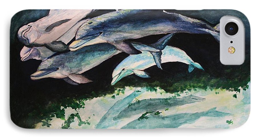 Dolphins IPhone 7 Case featuring the painting Dolphins by Laura Rispoli