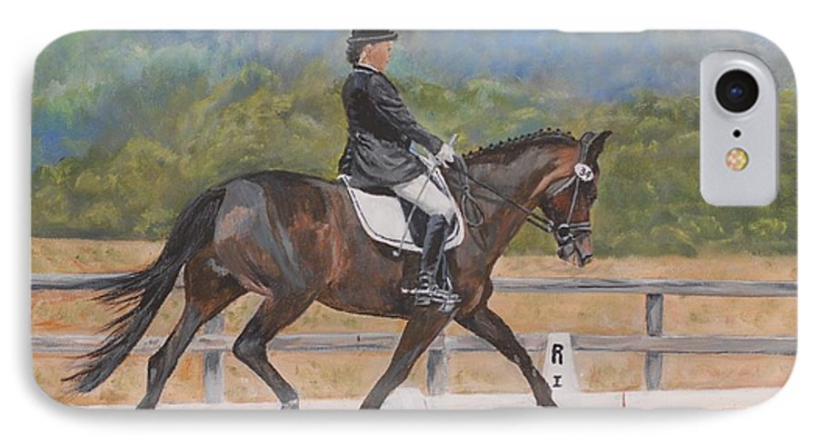 Horse IPhone 7 Case featuring the painting Donnerlittchen by Quwatha Valentine