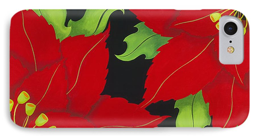 Acrylic IPhone 7 Case featuring the painting Double Red Poinsettias by Carol Sabo