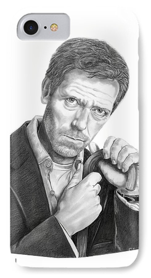 Drawing IPhone 7 Case featuring the drawing Dr. House Hugh Laurie by Murphy Elliott