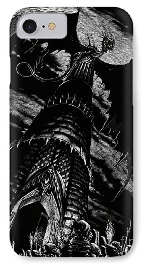 Dragon IPhone 7 Case featuring the drawing Dragon Tower by Stanley Morrison