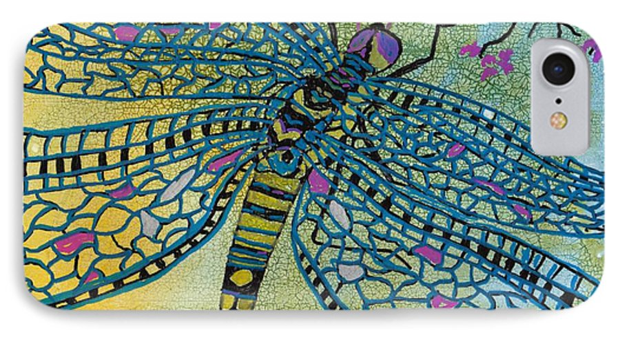 Dragonfly IPhone 7 Case featuring the mixed media Dragonfly And Cherry Blossoms by Susan Kubes
